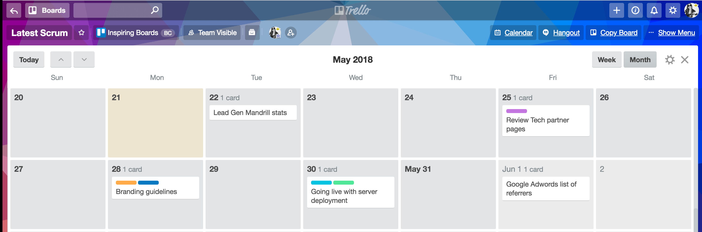 View your sprint in Trello's calendar view