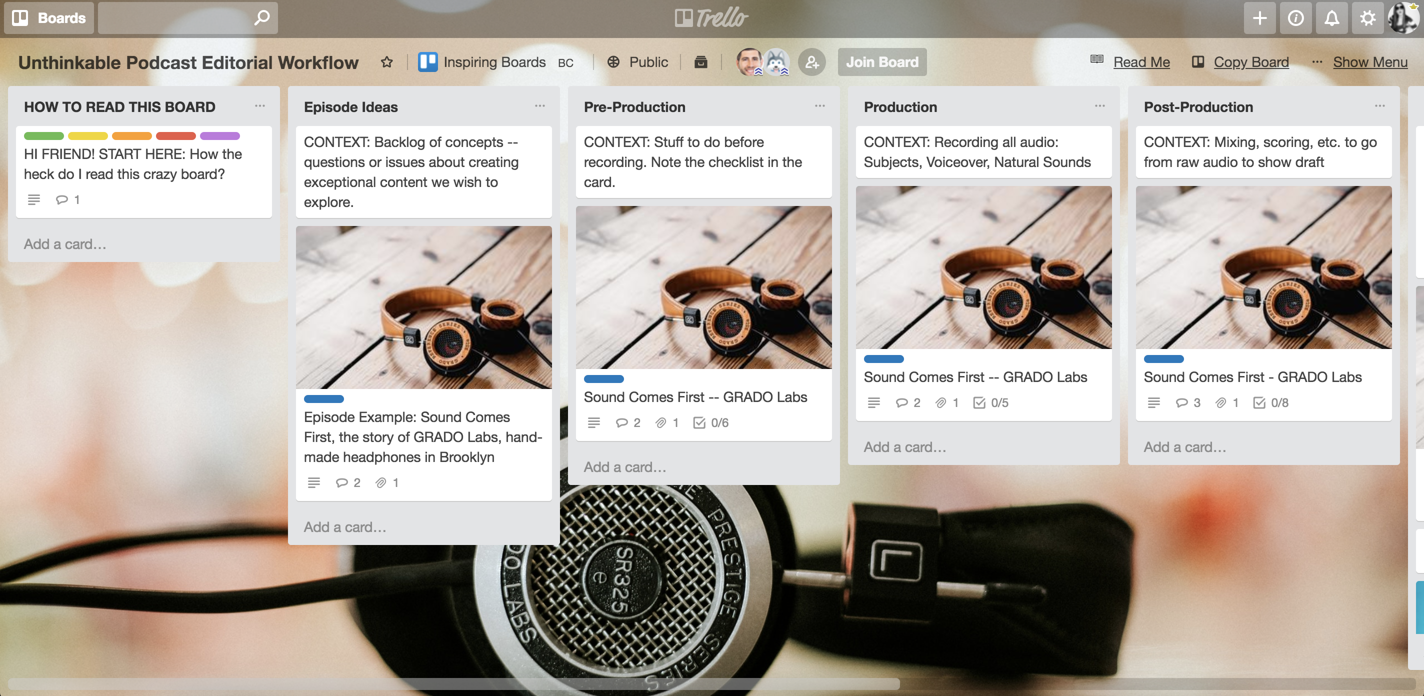 Sample Trello Board Template for Podcast Editorial Calendar