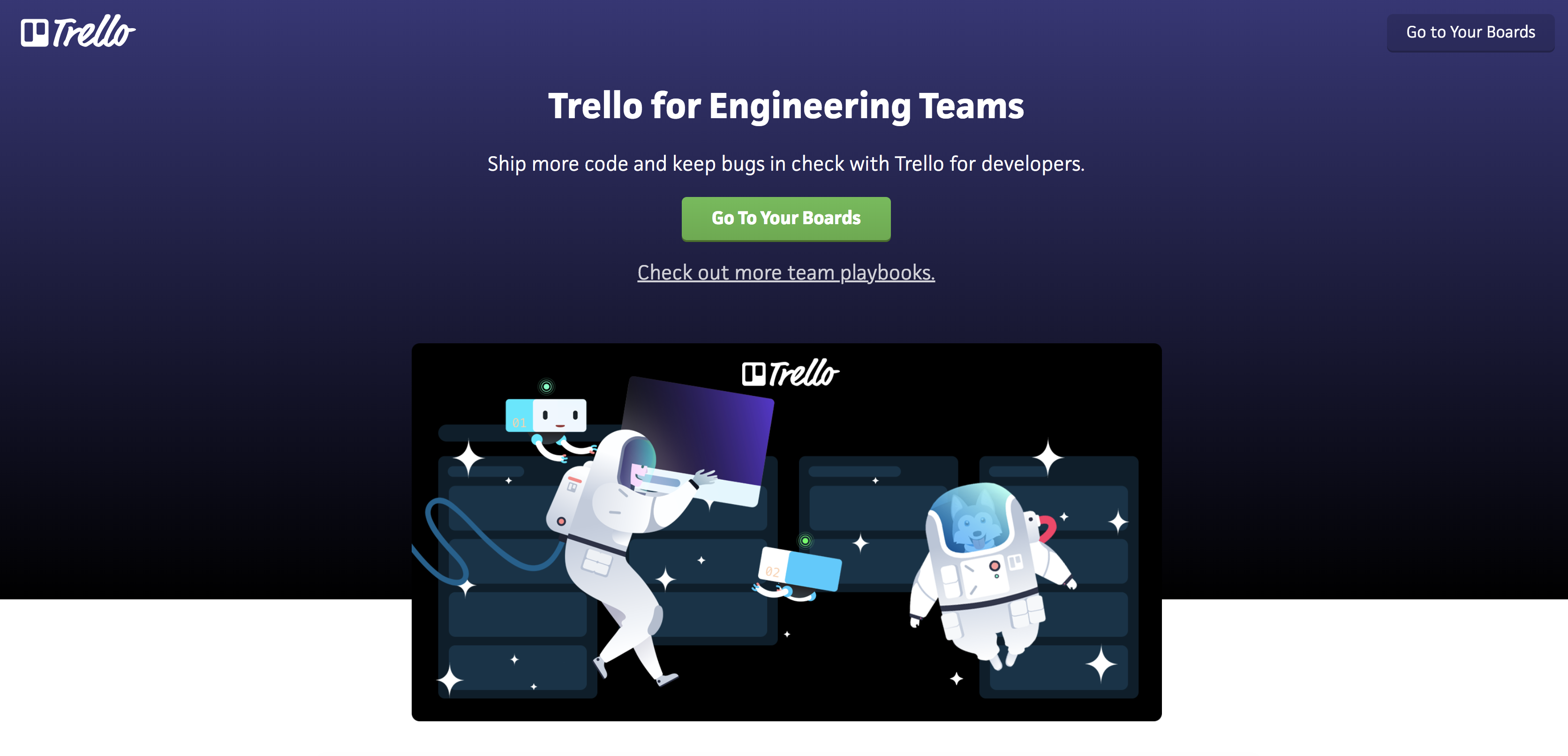 View of Trello For Engineering Teams Playbook page