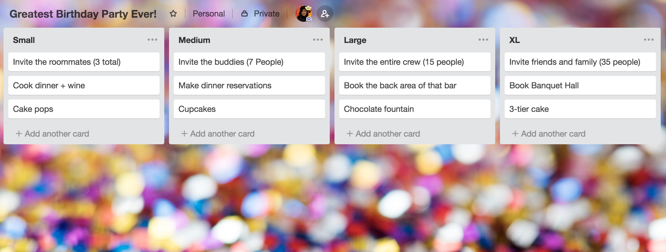 Image of a Trello Board organizing a birthday party