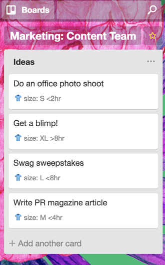 Image of a Trello list showing t-shirt custom fields