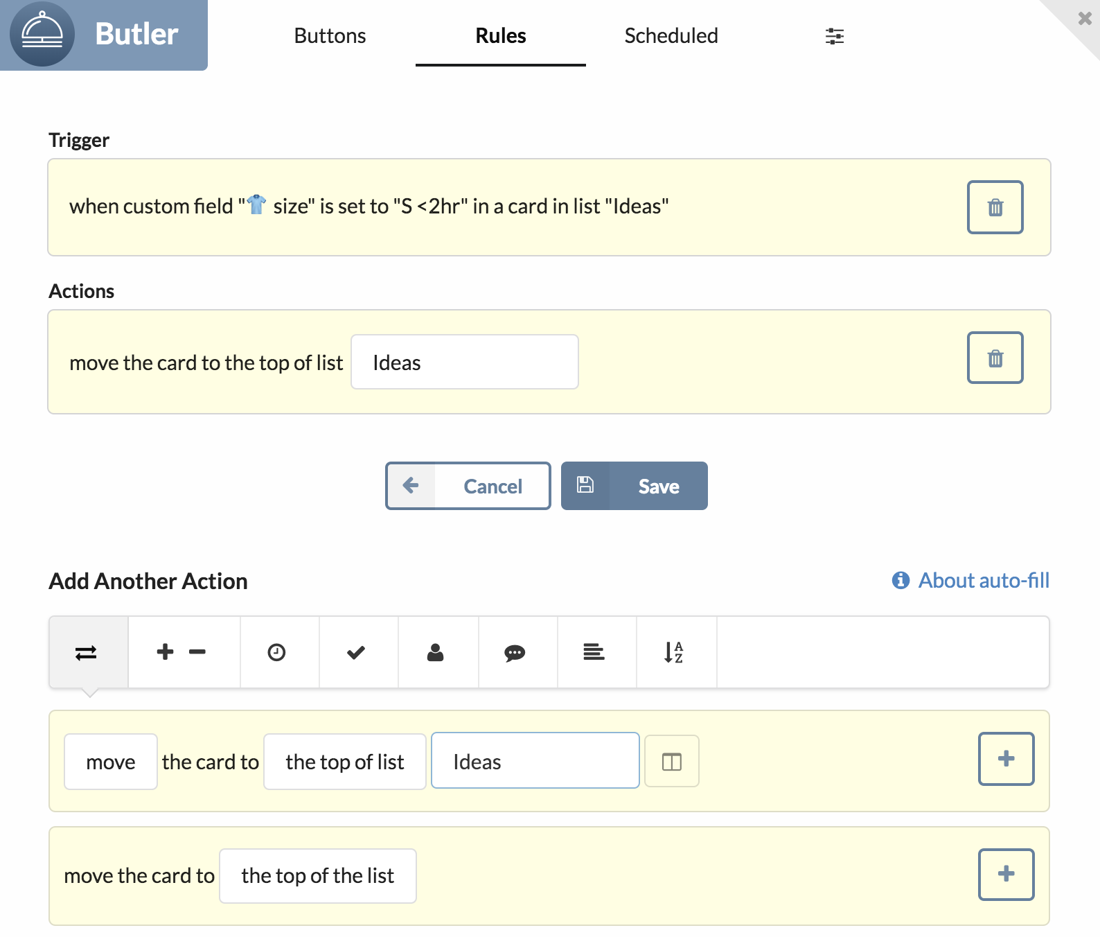 Image of the Butler-Up in Trello