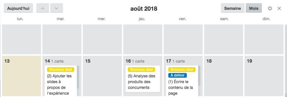 """""""vue calendrier"""" de votre tableau Trello pour identifier facilement les prochaines dates d'échéance."""