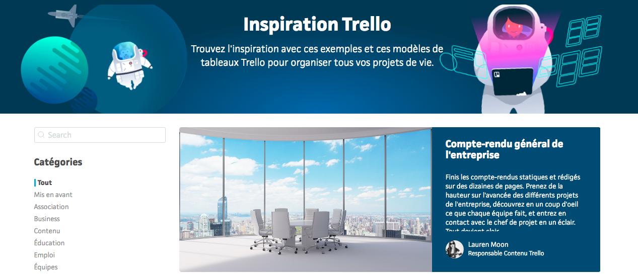 Exemples de tableaux Trello Inspiration
