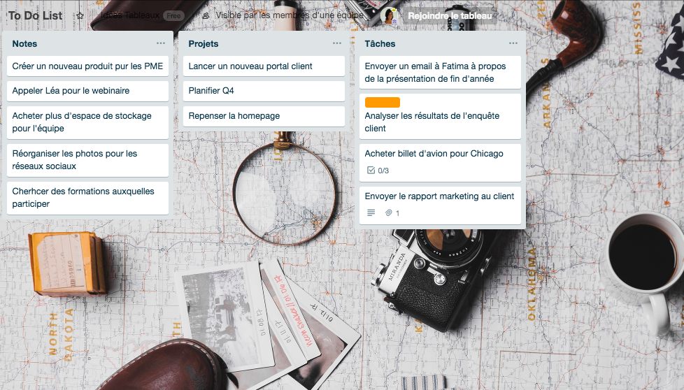Exemple Tableau Trello to do list