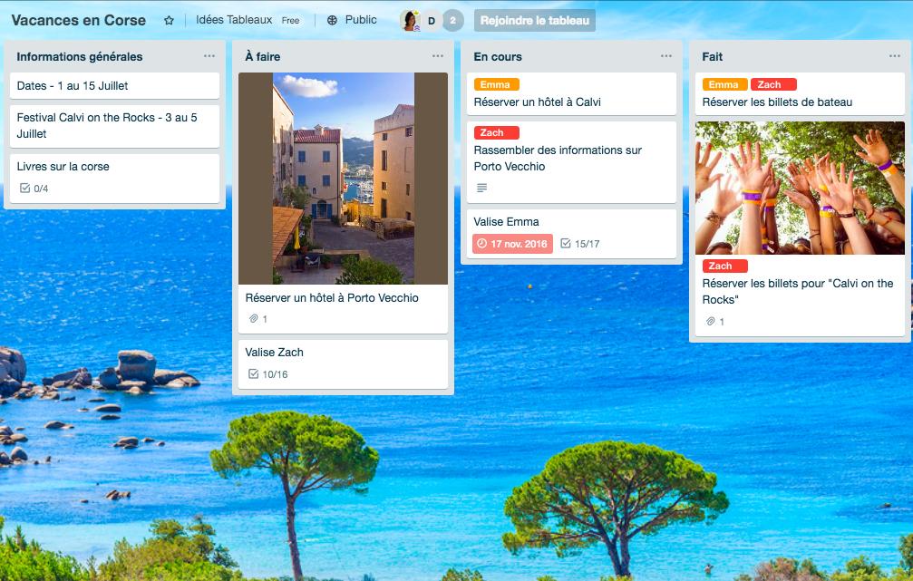 Exemple Tableau Trello Planification des vacances