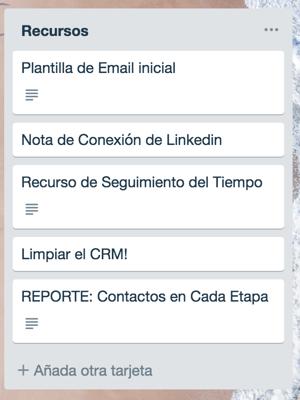 lista de recursos en CRM Trello