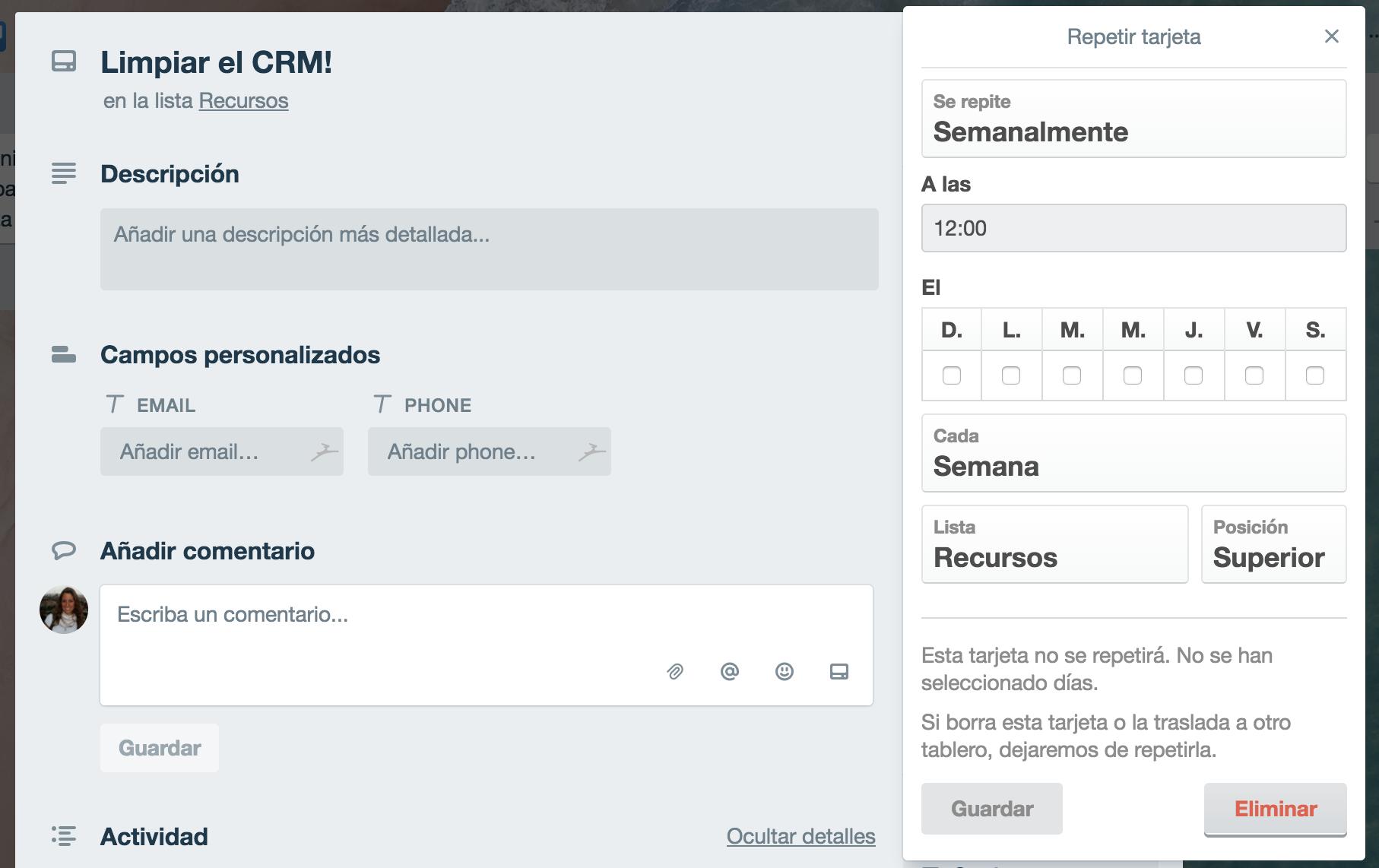 repetidor de tareas en Trello - CRM online