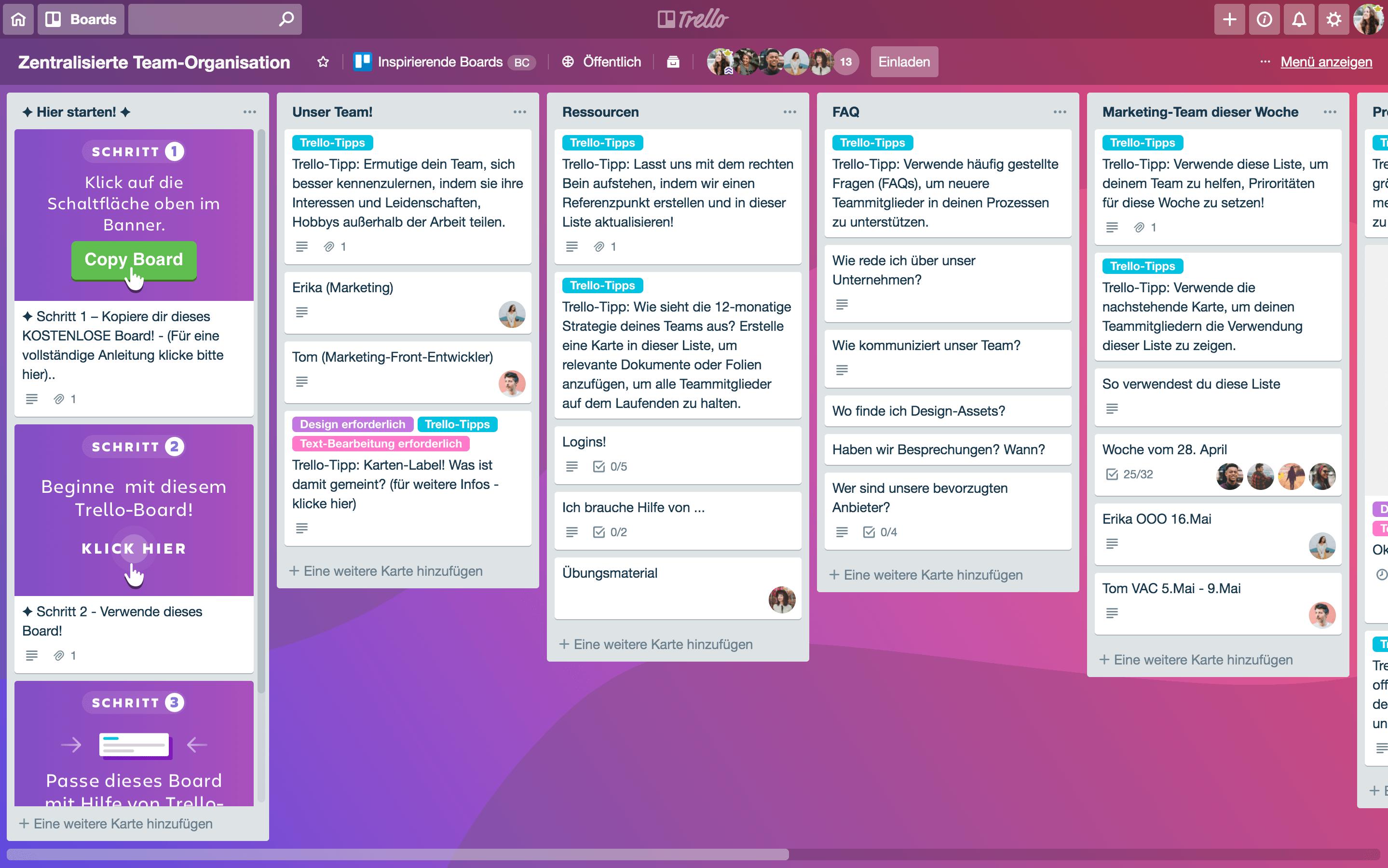 Team-Ressourcen-Board in Trello