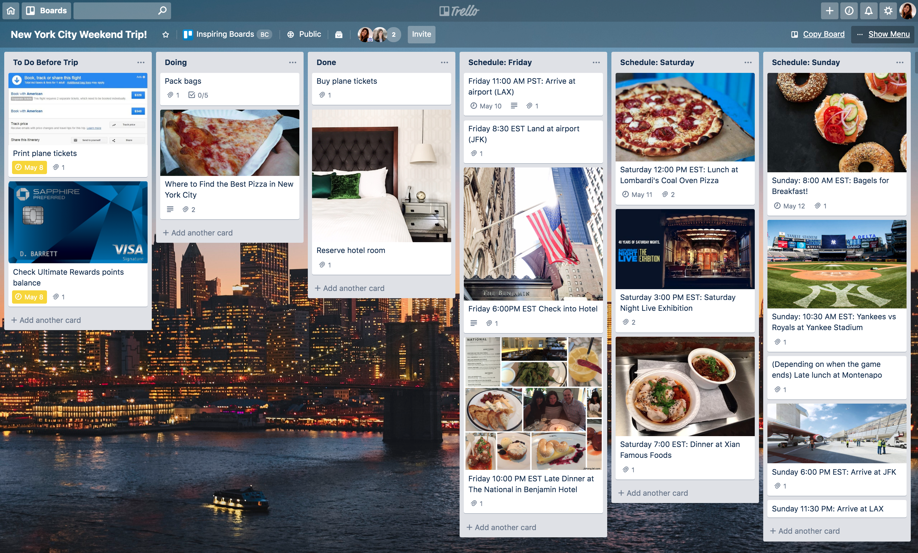 Free Trello board template: New York trip planner