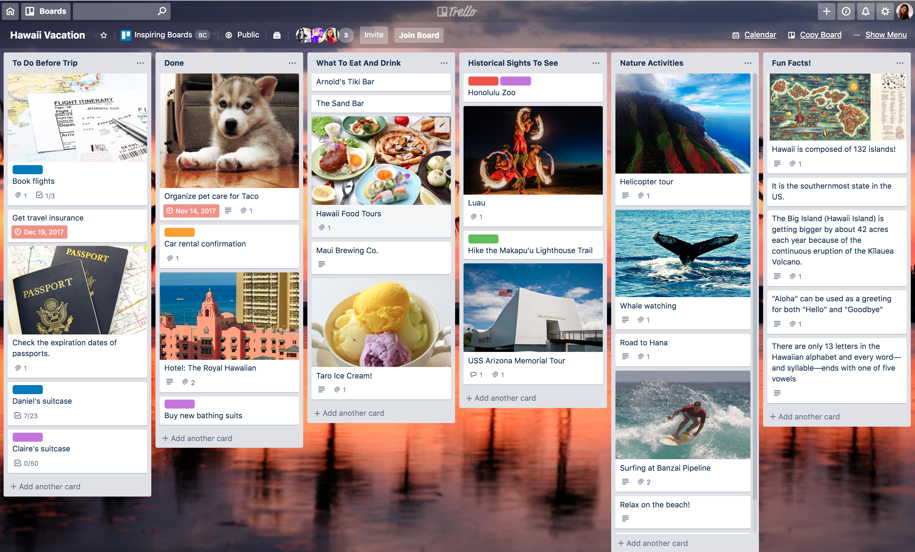 Free Trello board template: Honolulu trip planner