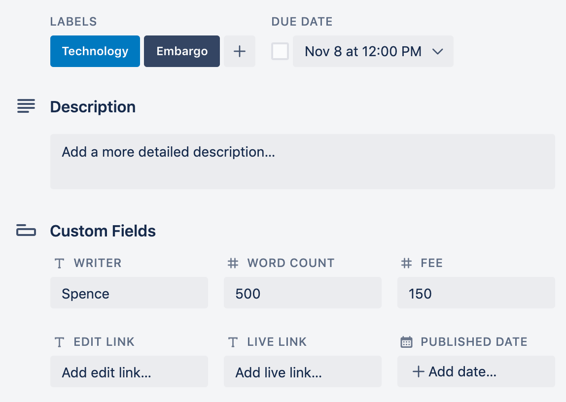 example of trello due date and custom fields