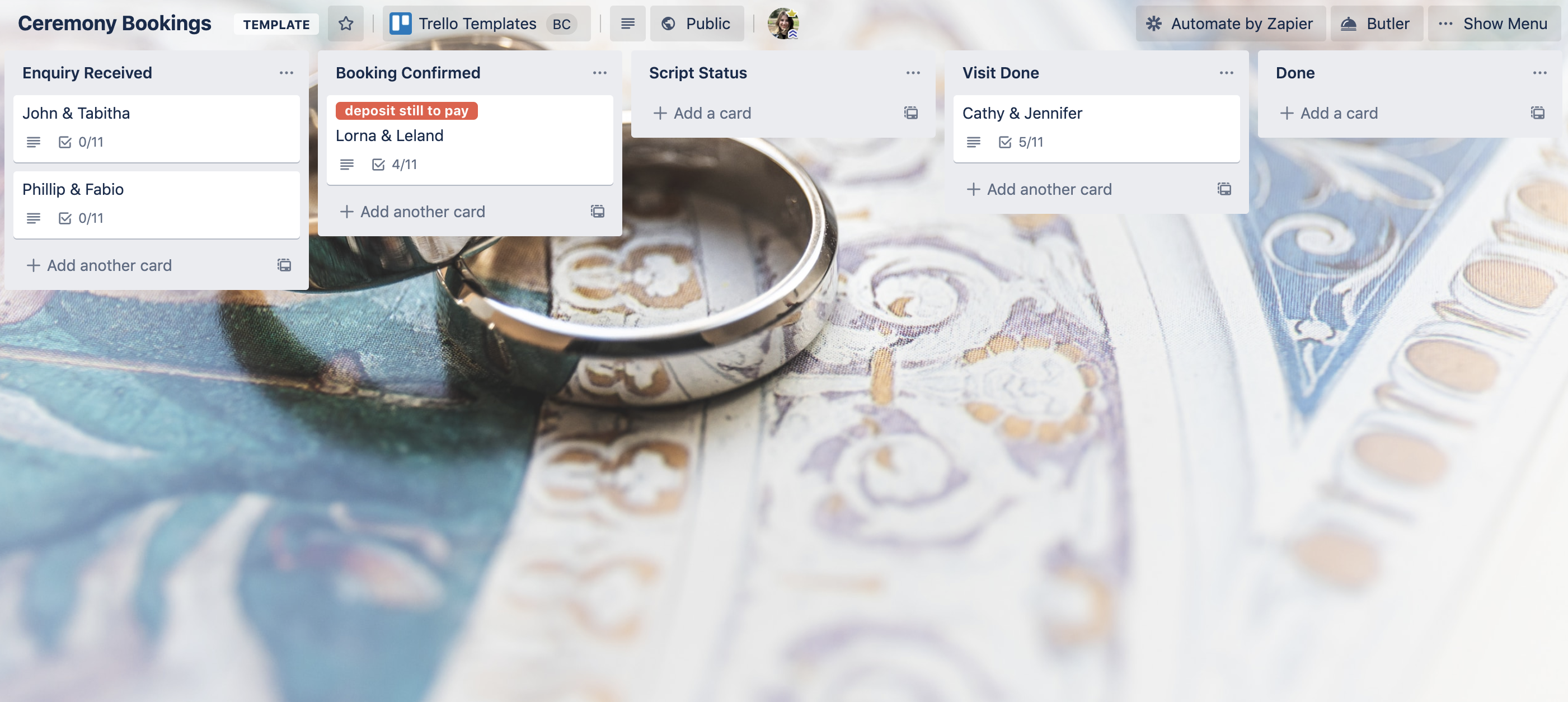 ceremony booking Trello template by Celebrate People