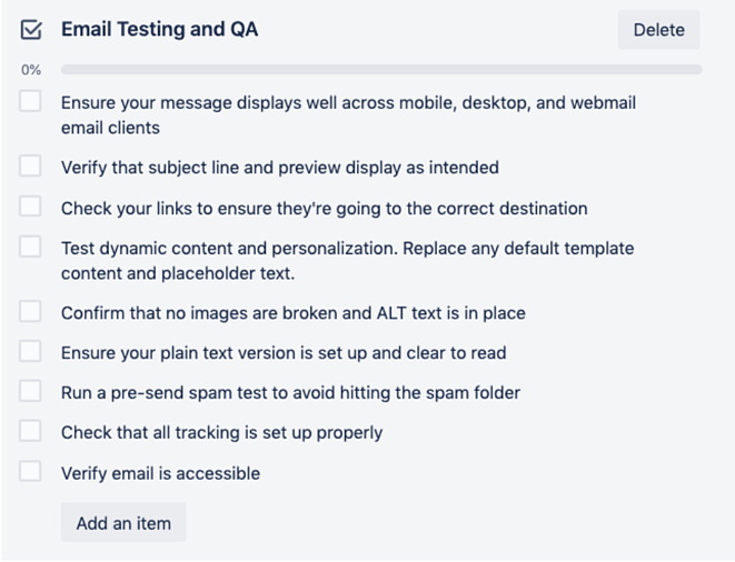 checklist on trello card for email testing