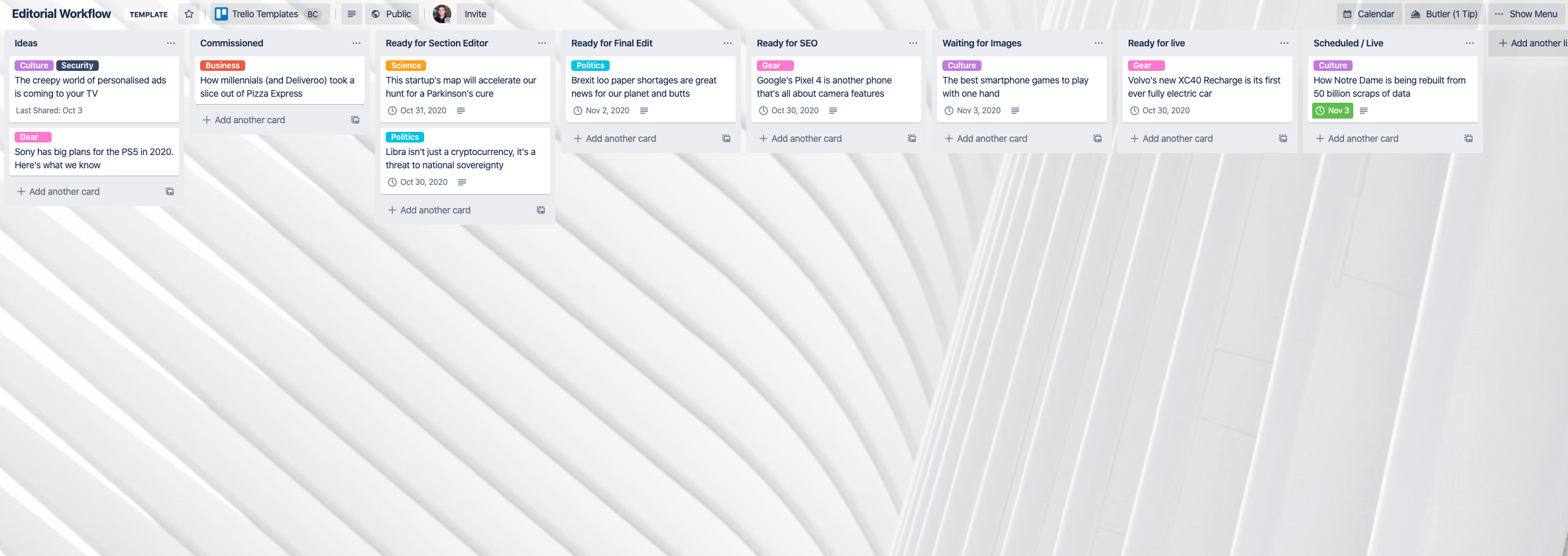 Wired UK Editorial Workflow Trello Template