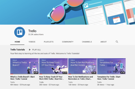 screenshot of Trello YouTube Channel