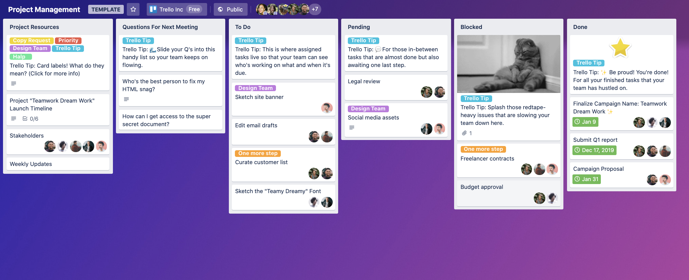 project management template trello board