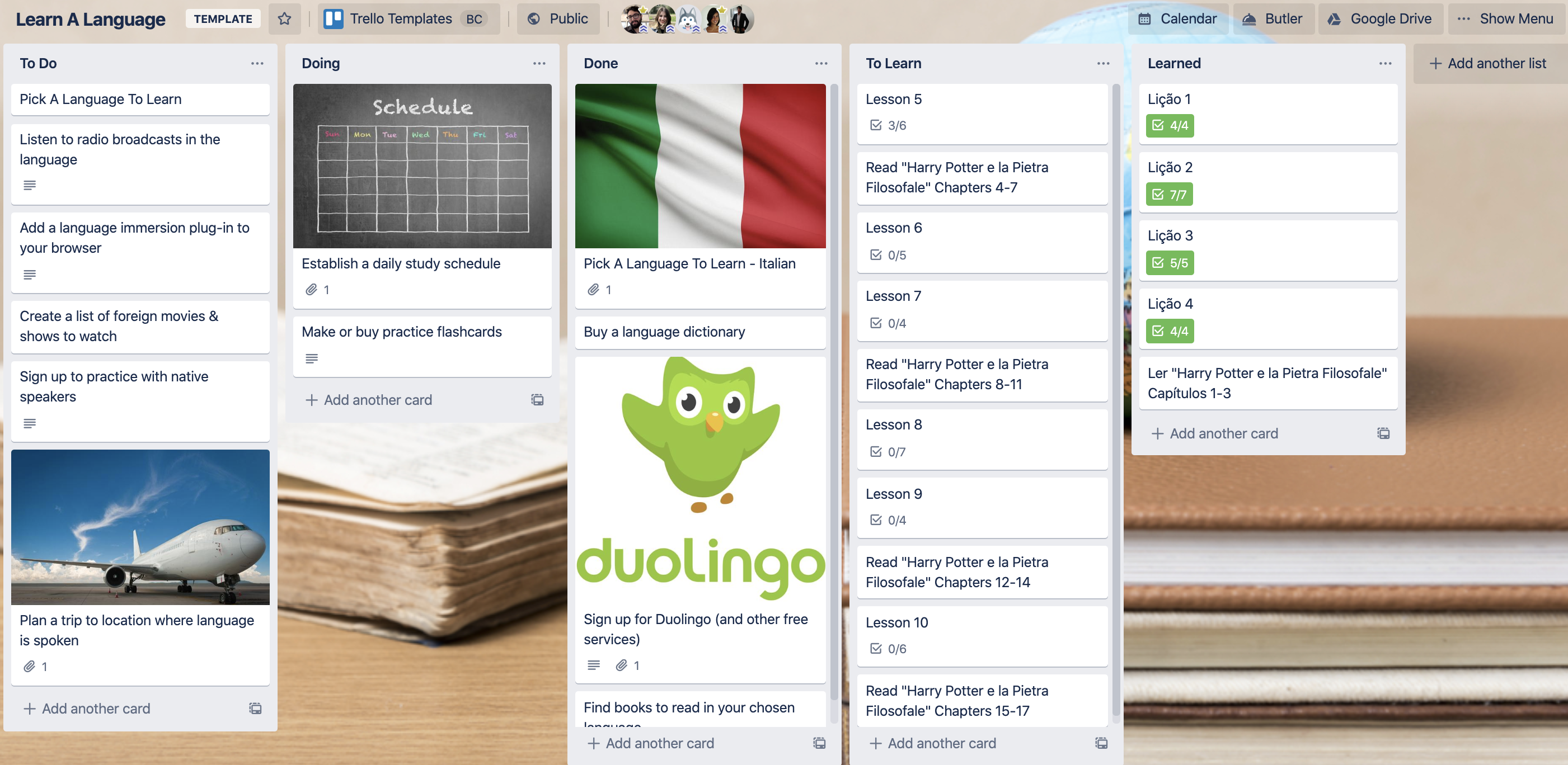 Learn a language template Trello board