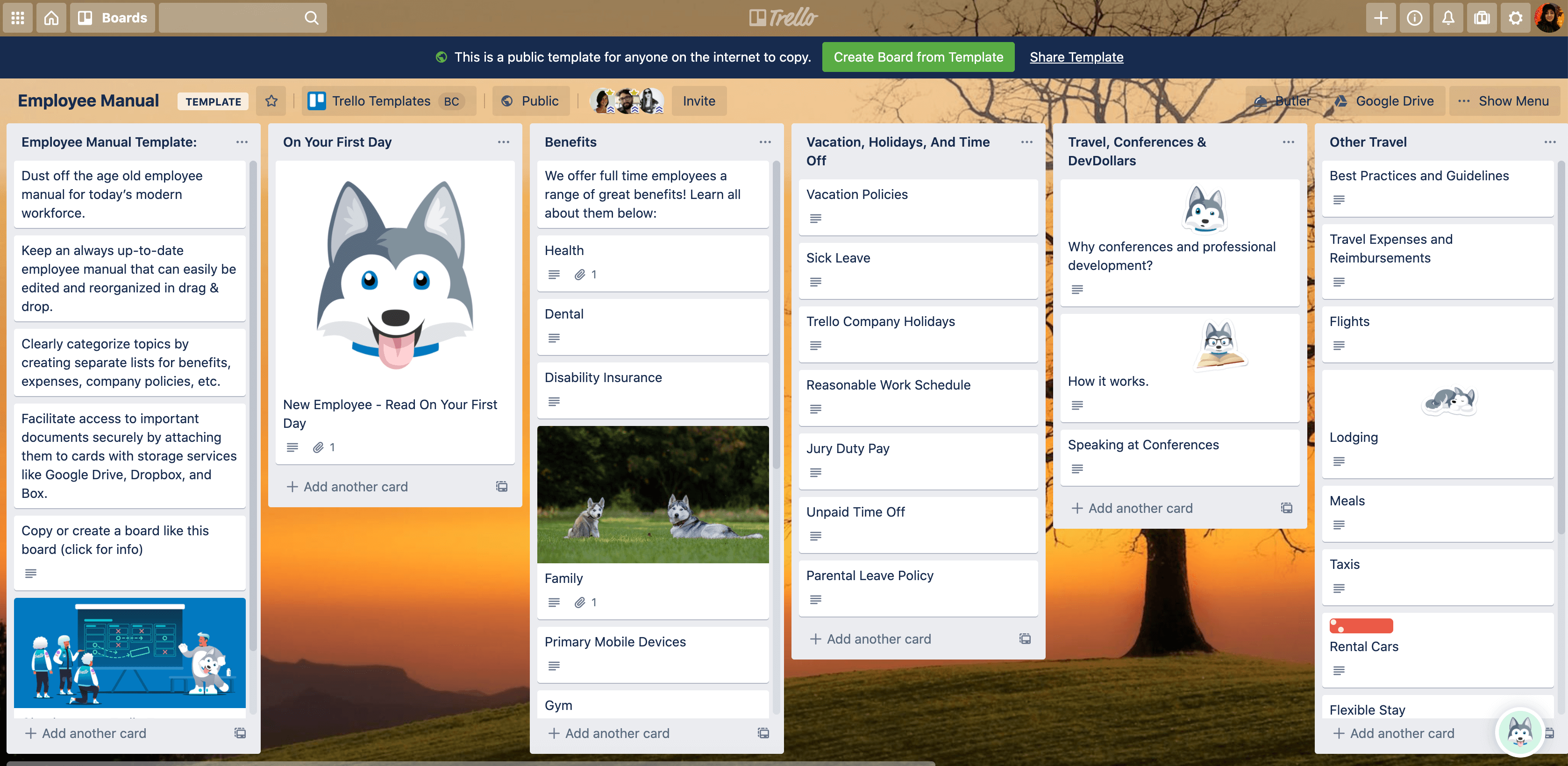 employee manual trello board template
