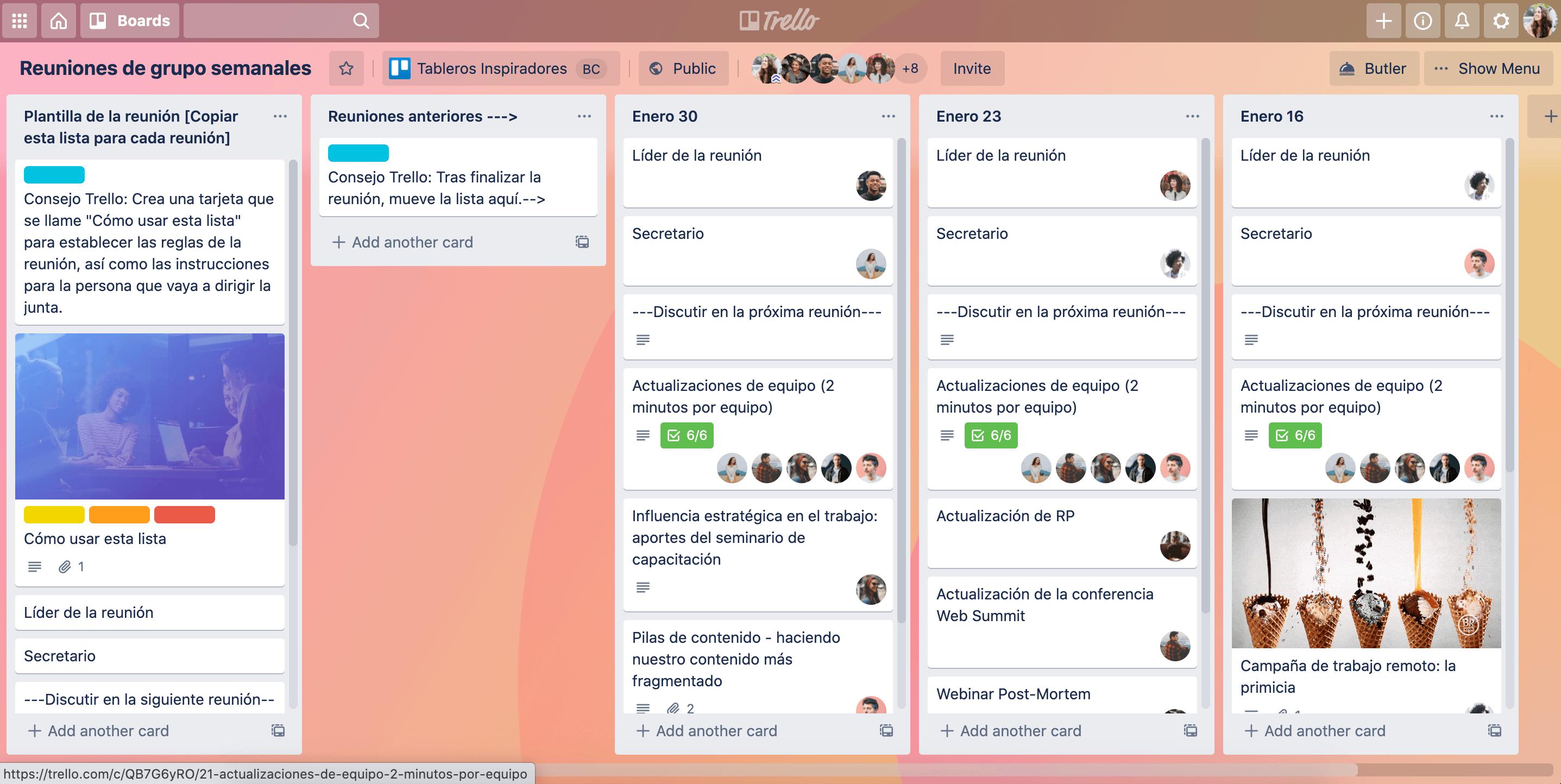 tablero de reuniones del equipo remoto