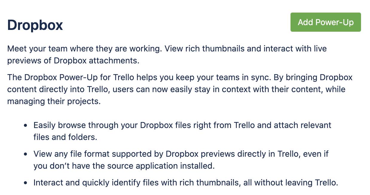 Trello Dropbox Power-Up Screenshot