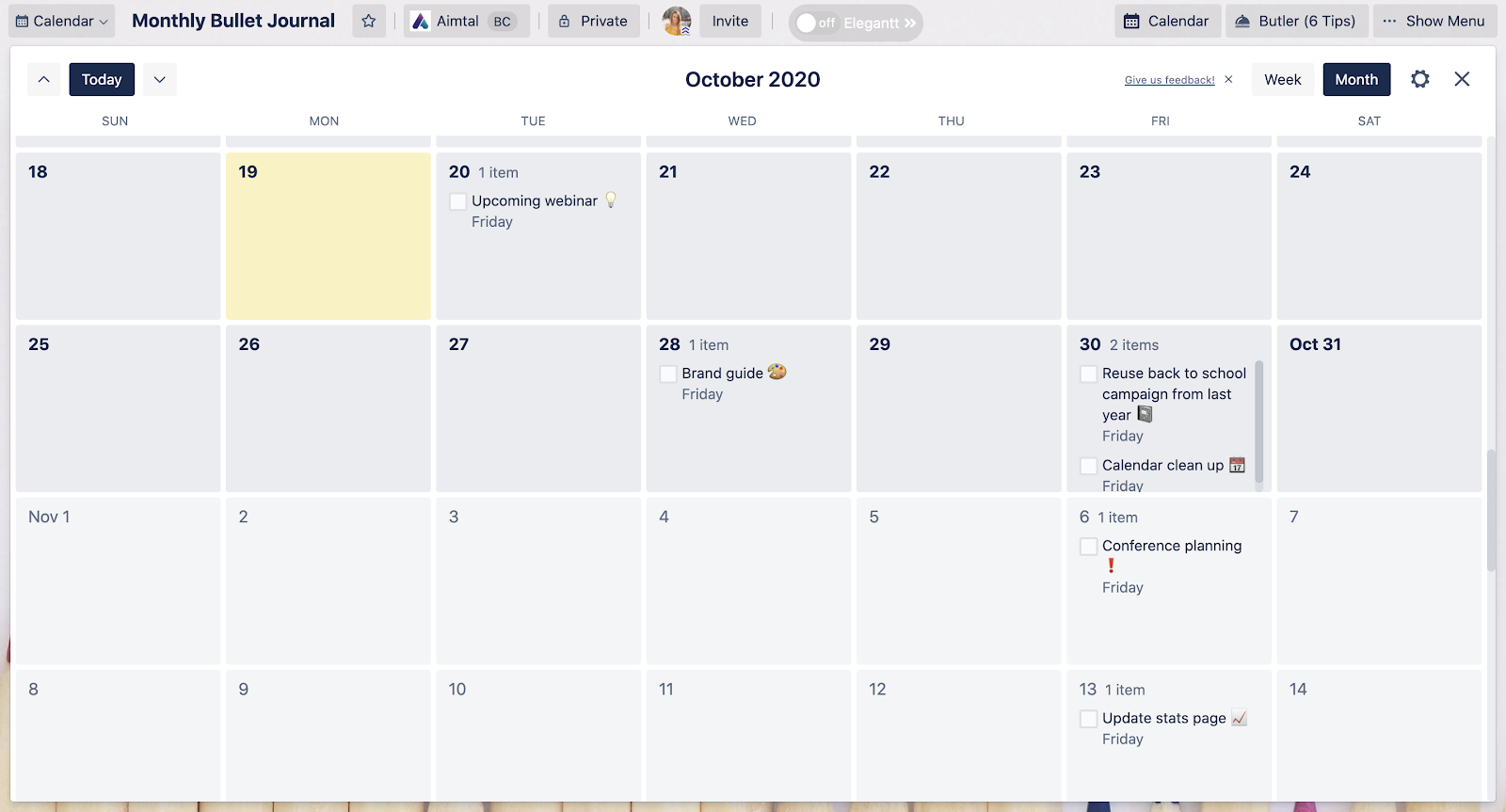 Trello Advanced Checklist Calendar View Screenshot