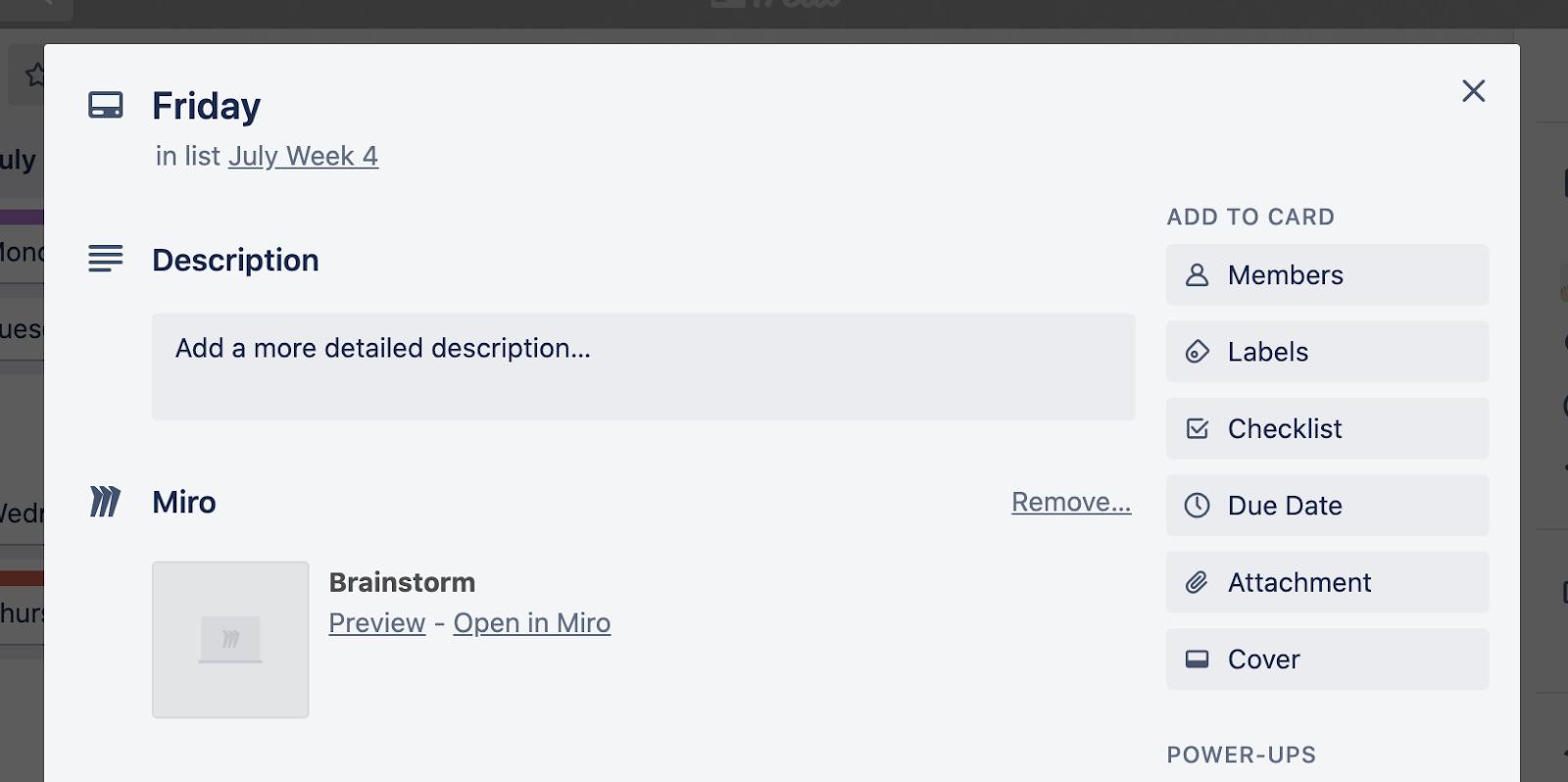 Miro Trello Integration Screenshot