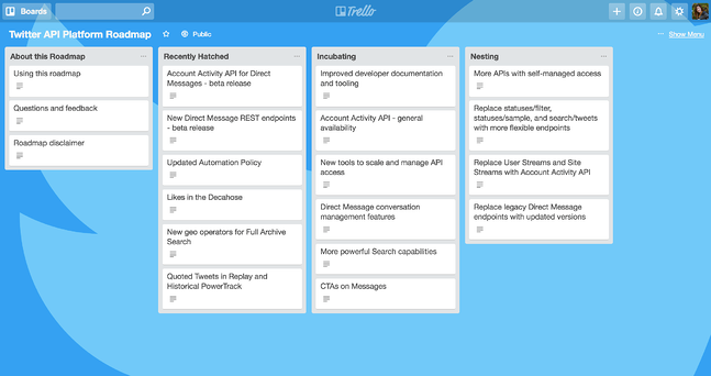 twitter public roadmap trello