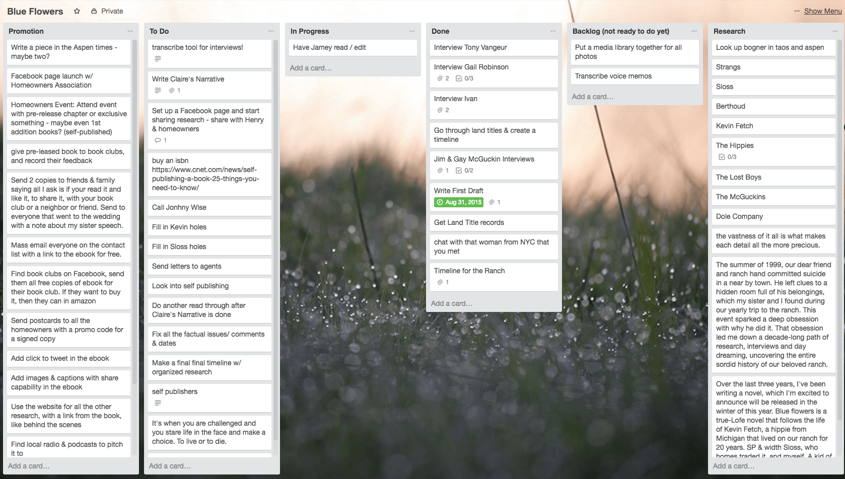 Book Planning Trello board