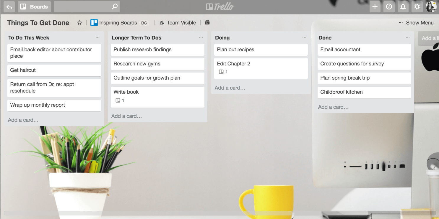 A basic Trello board: To Do, Doing, Done