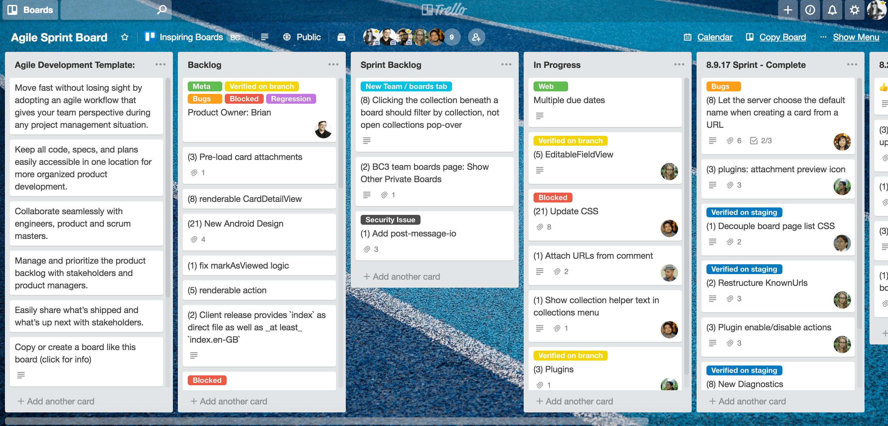 Sample Trello Board: Agile Development for engineering