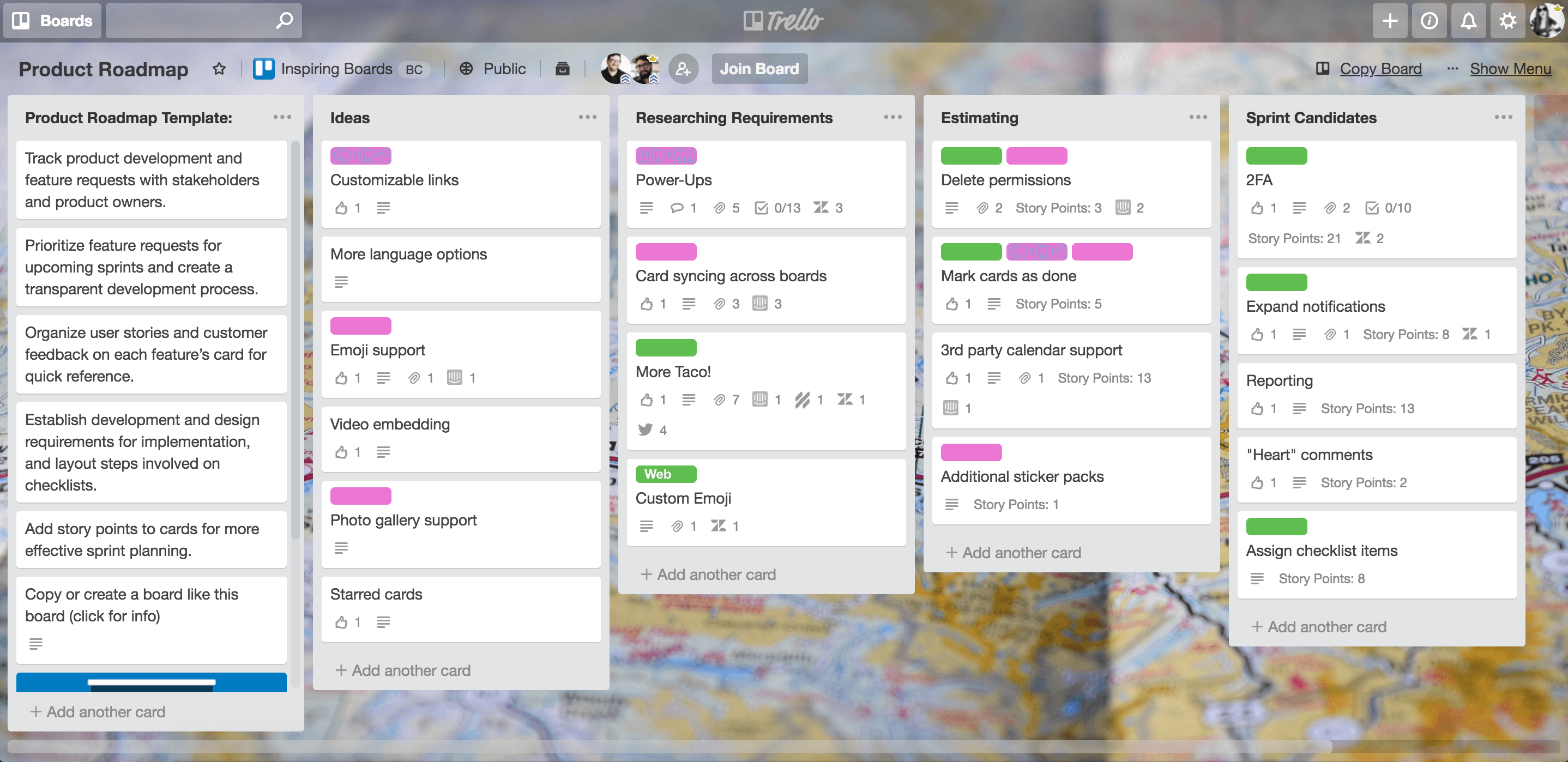 Sample Trello Board: product roadmap for engineers