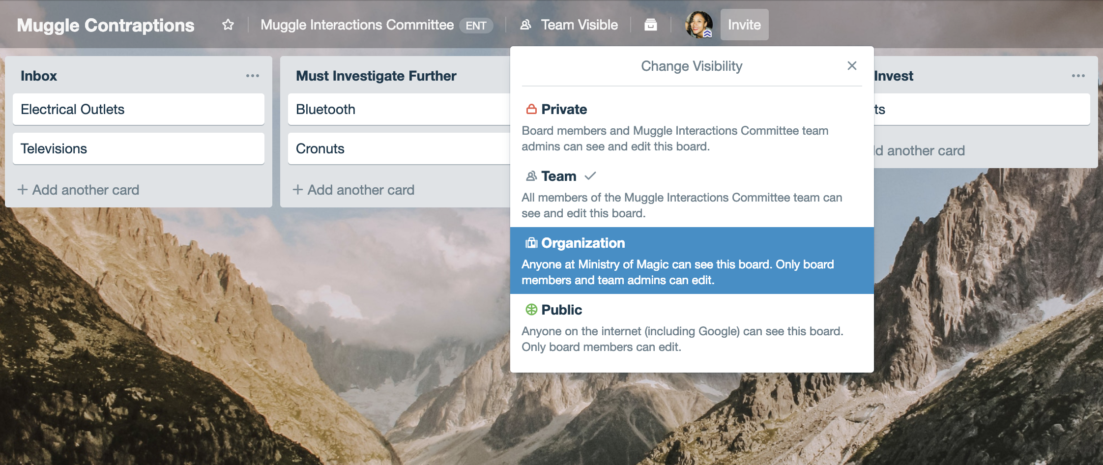 Trello Enterprise Beispiel-Organisations-Boards
