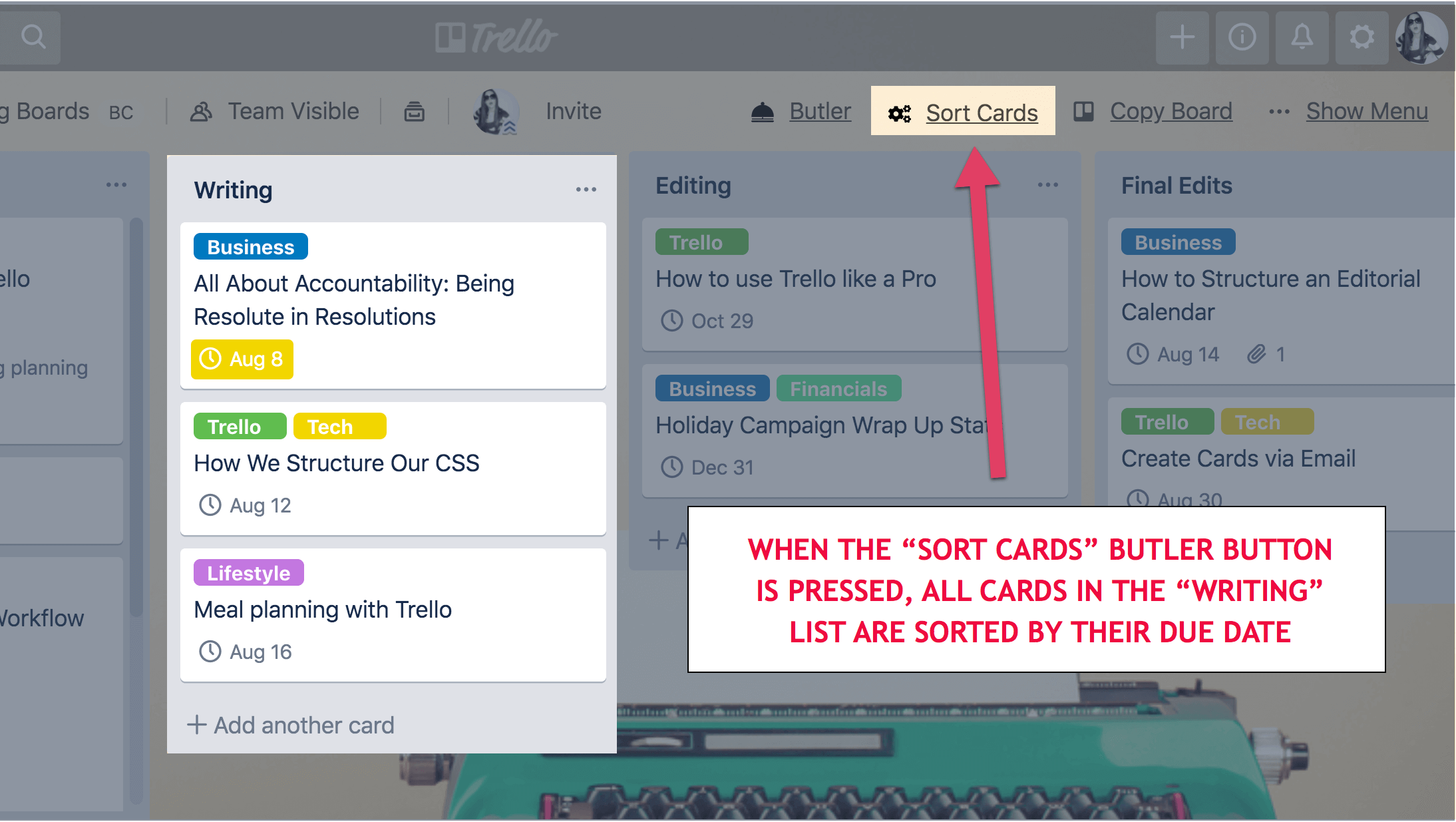 Sort cards button on Trello