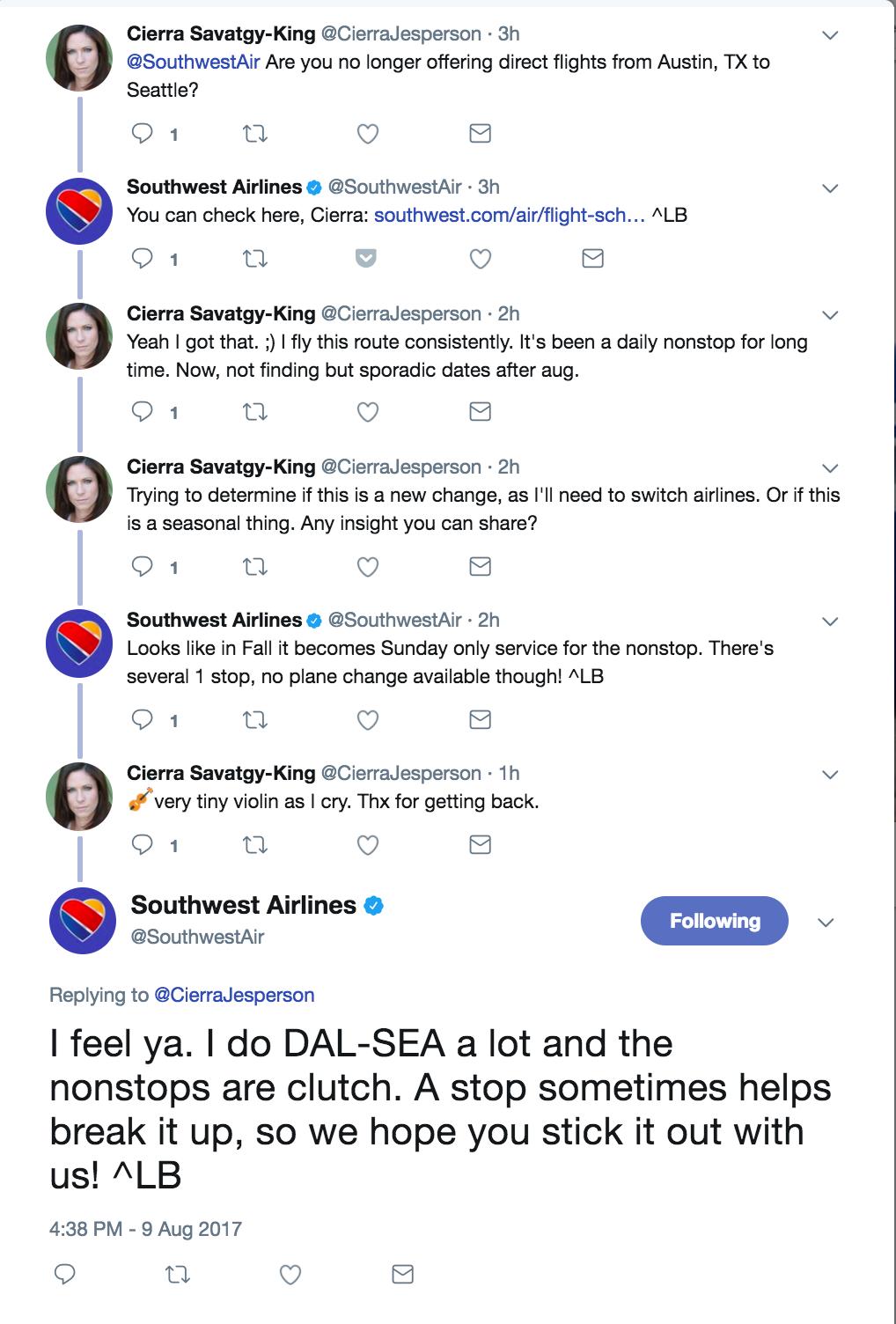 Customer feedback on Twitter