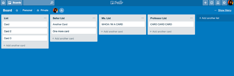 trello basic board structure