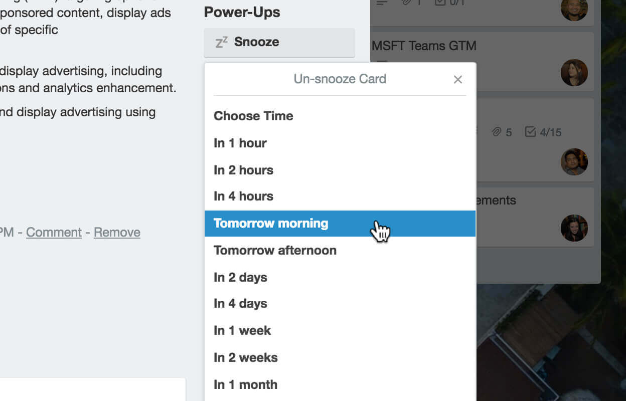 Card snooze power-up