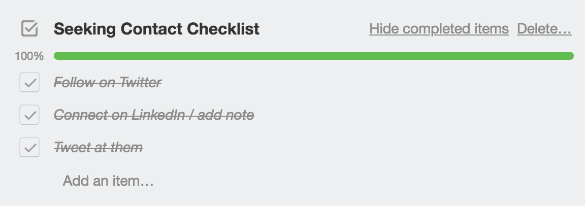 Seeking contact checklist example in Trello
