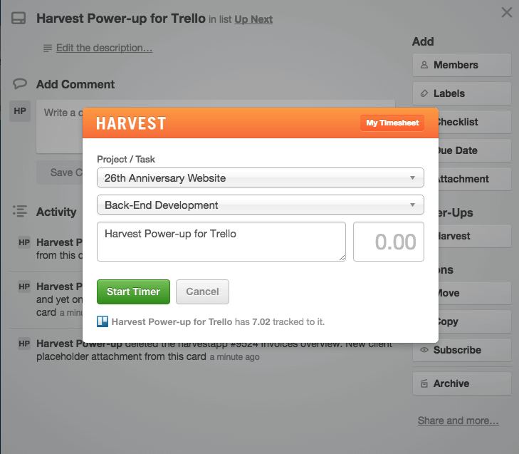time tracker harvest