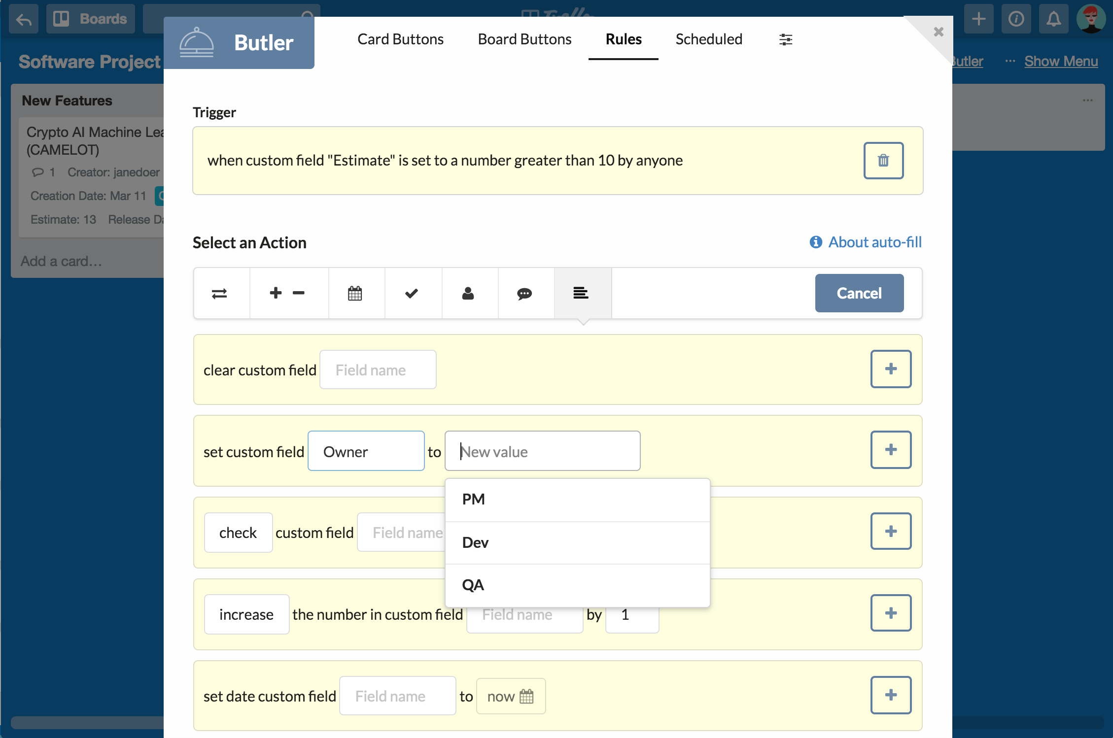 How to use Butler with Custom Fields in Trello