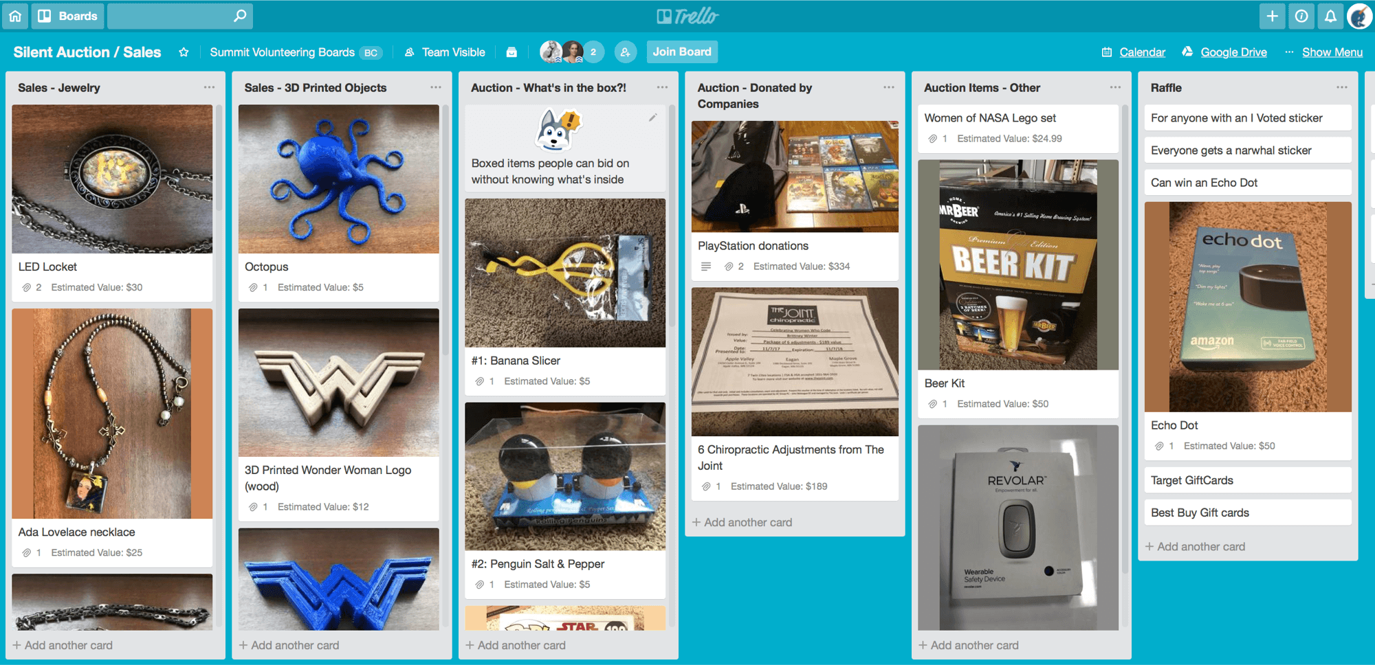 silent auction board in trello