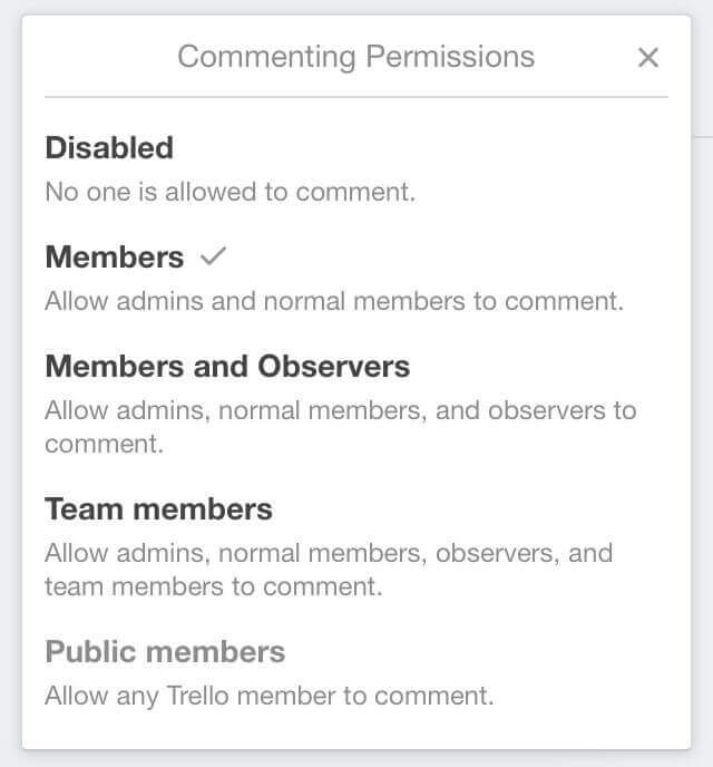 Commenting permissions on trello cards