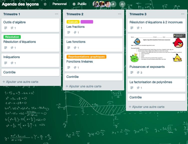 Trello Tableau Apprentissage collaboratif en cours de Maths