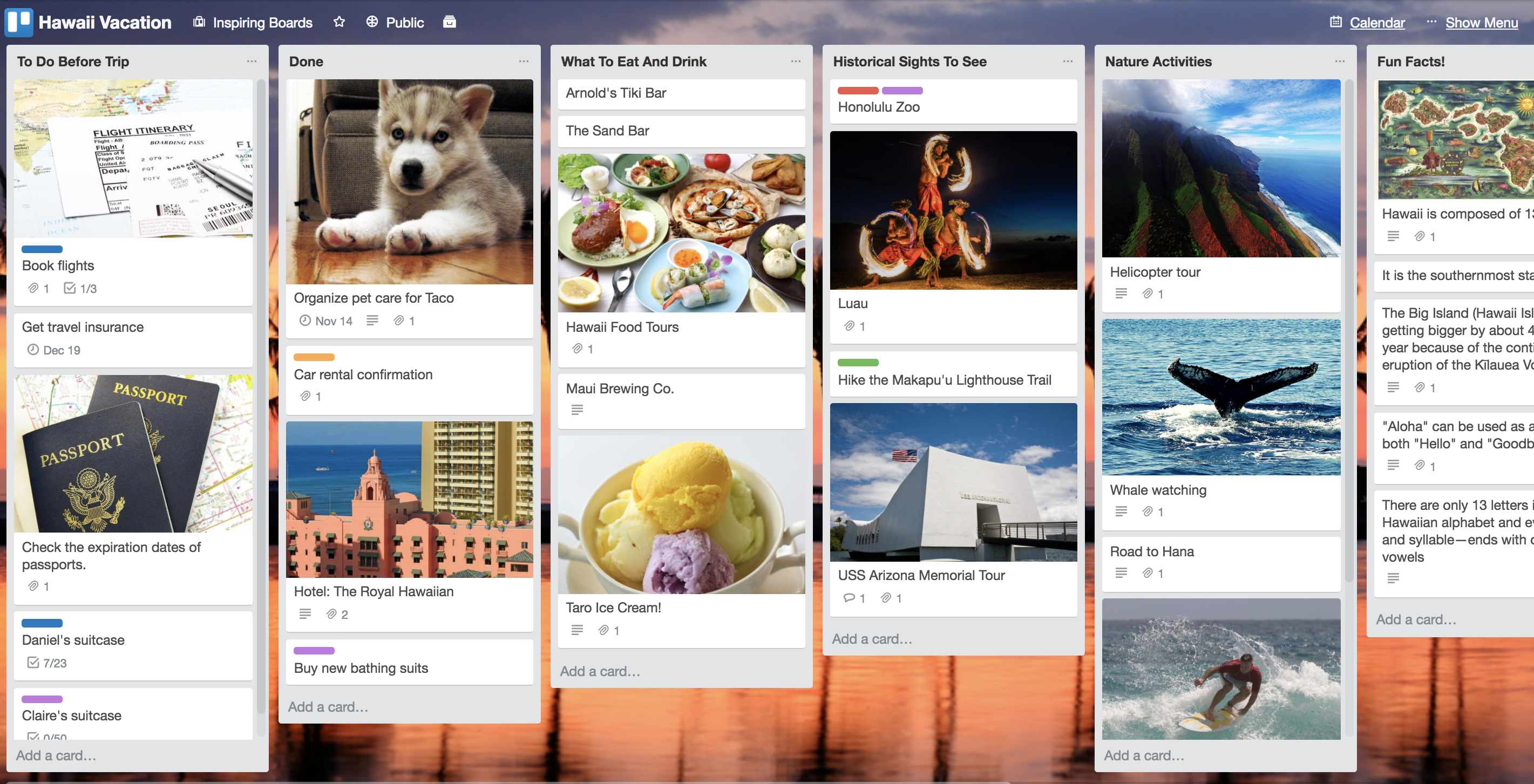 Trello Vacation Sample Board Free