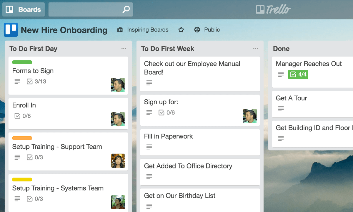 trello new hire onboarding