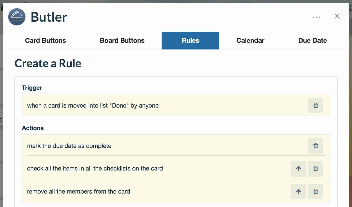 Trello Butler Rule Setup