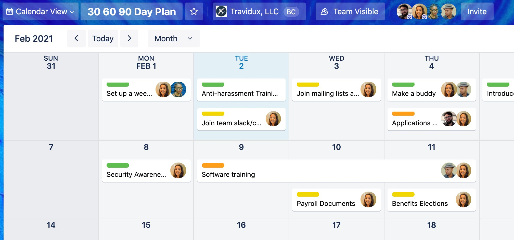 Trello Calendar view screenshot