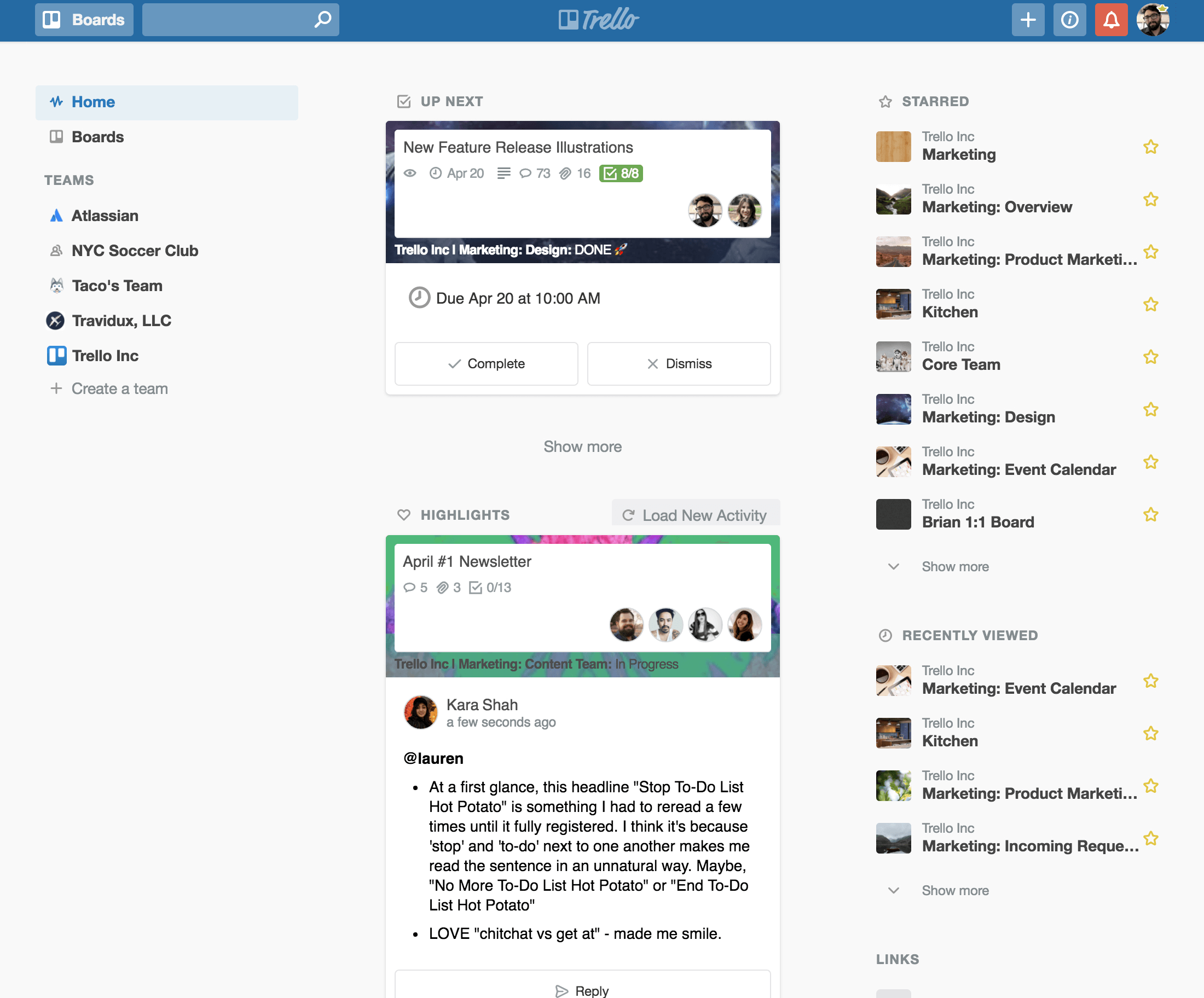 Trello home overview: New activity feed functions