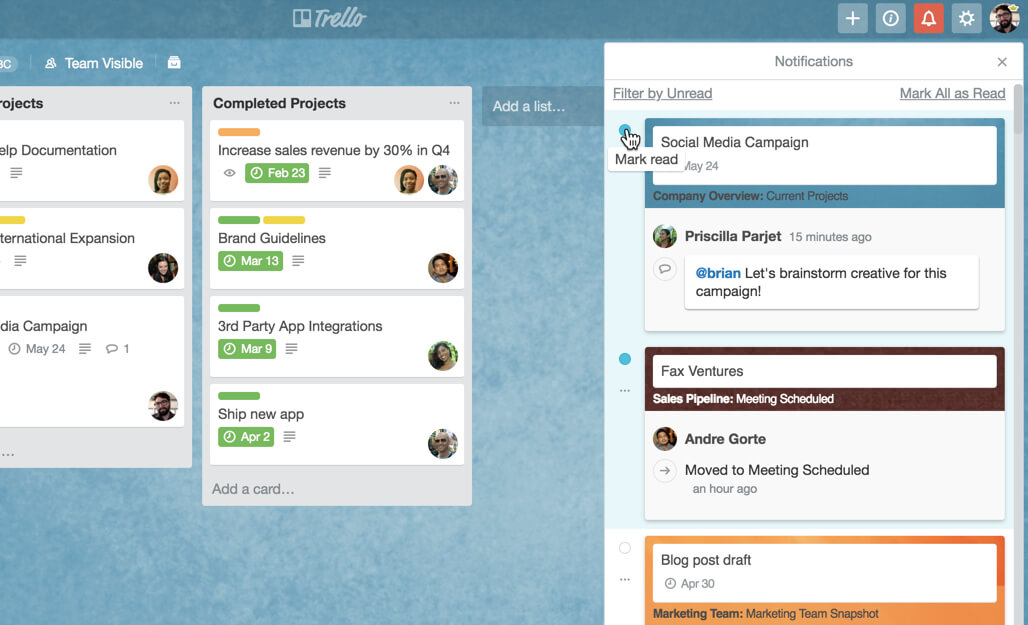 Trello notifications changes updates - mark as read