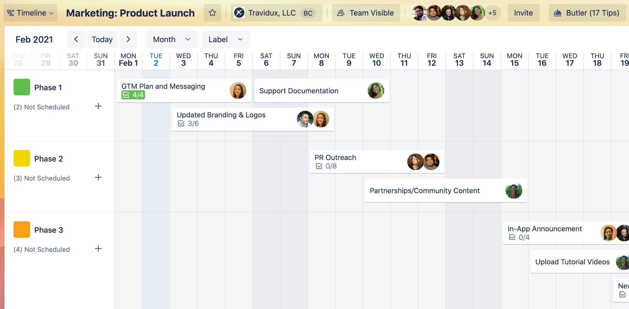 screenshot of Trello Timeline view